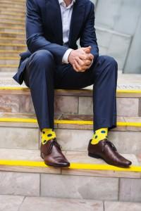 korte broeklengte en modieuze sokken